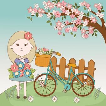 Meisje met boeket en boom bloemen fiets cartoon