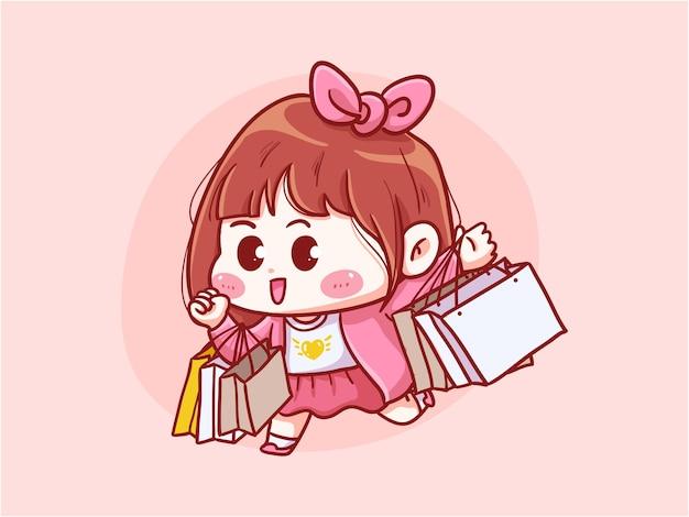 Meisje met boodschappentas kawaii illustratie