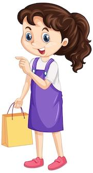 Meisje met boodschappentas op geïsoleerde background