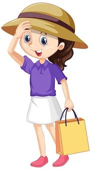 Meisje met boodschappentas