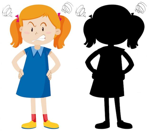 Meisje met boos gezicht in kleur en silhouet