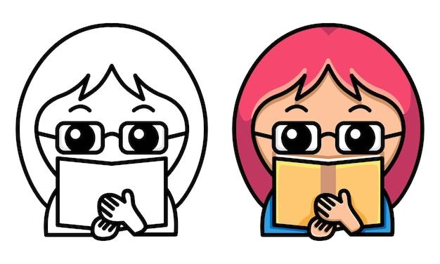 Meisje met bril met een boek kleurplaat voor kinderen