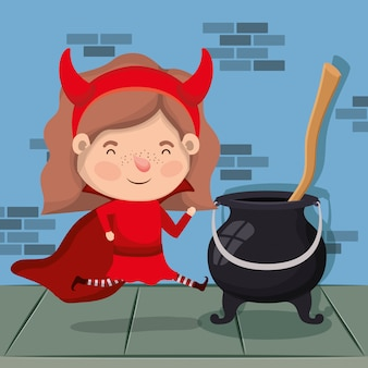 Meisje met duivelskostuum en ketel in muurkarakter