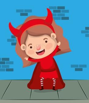 Meisje met duivelskostuum in muurkarakter