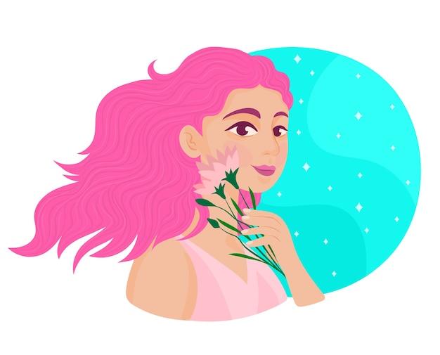 Meisje met een boeket bloemen
