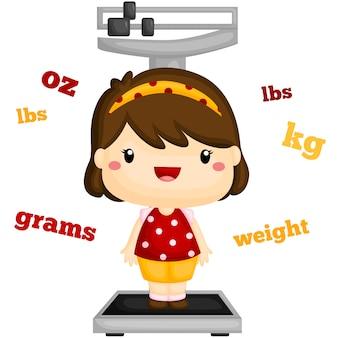Meisje met een eigen gewicht