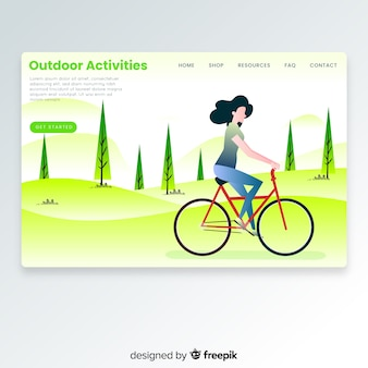 Meisje met een fiets-bestemmingspagina