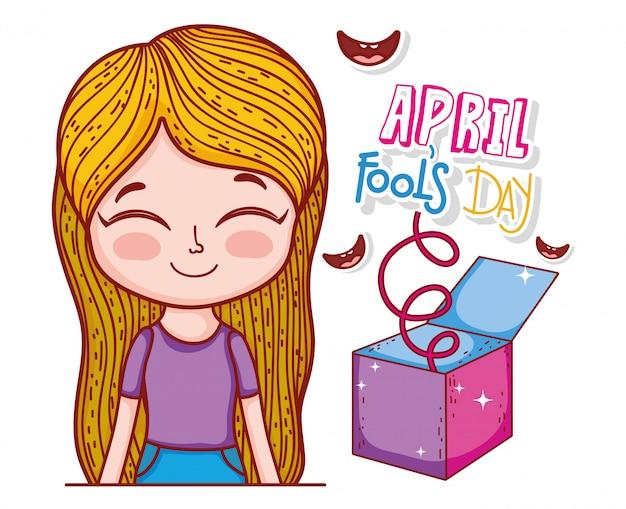 Meisje met een glimlach en dwazen dag doos