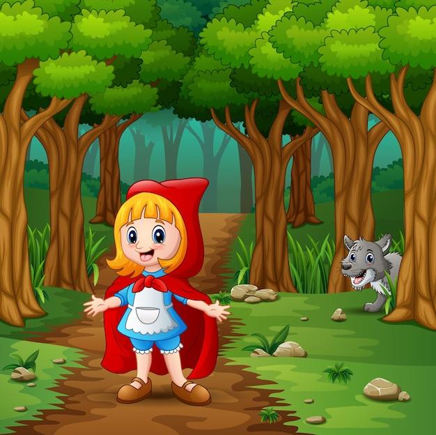 Meisje met een kap rood en wolven bij bos
