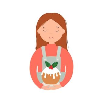 Meisje met een kersttaart. vectorillustratie geïsoleerd op een witte achtergrond.