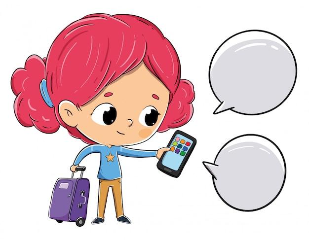 Meisje met een koffer die met smartphone babbelt