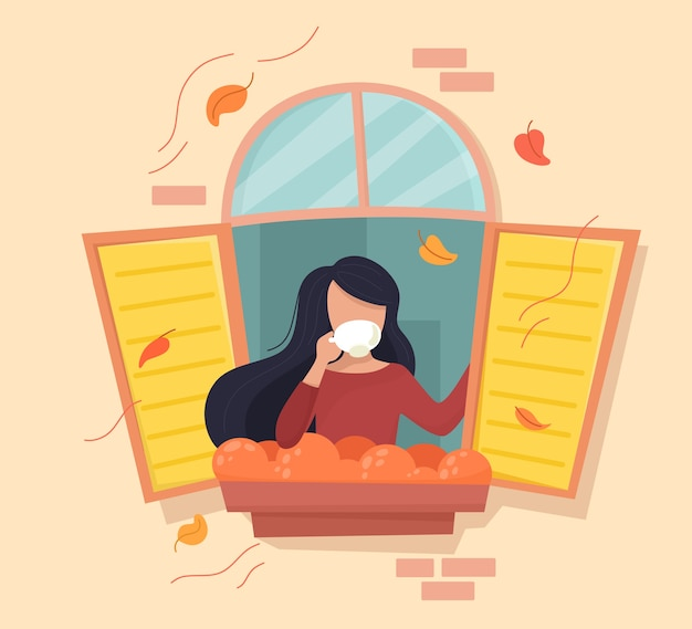 Meisje met een kopje koffie in het herfstvenster. in cartoon vlakke stijl.