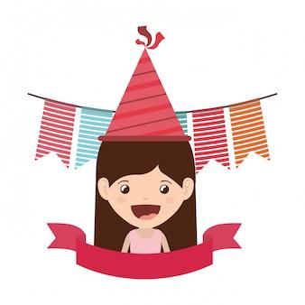 Meisje met feestmuts in verjaardagsviering
