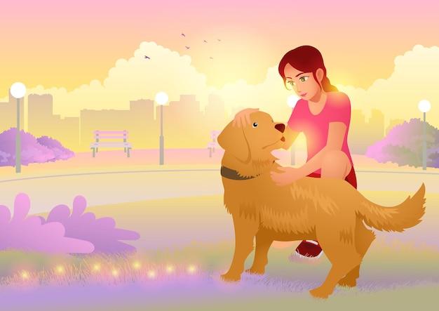 Meisje met haar golden retriever in het stadspark tijdens zonsopgang, cartoon afbeelding in eps-10