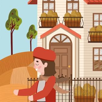 Meisje met herfst pak in de stad karakter