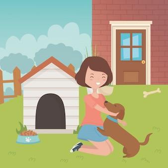 Meisje met hond cartoon ontwerp