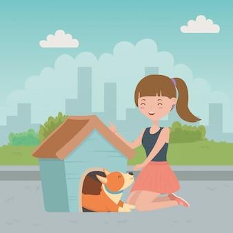 Meisje met hond van cartoon