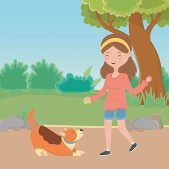 Meisje met hondbeeldverhaal