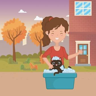 Meisje met kat cartoon ontwerp