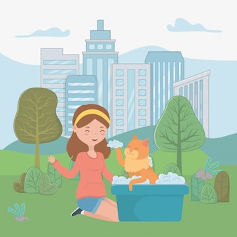 Meisje met kat van cartoon