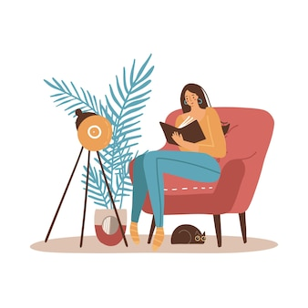 Meisje met kattenleesboek. younf vrouw zit in een grote fauteuil en leest. gezellige interieur meubels. platte cartoon vectorillustratie.