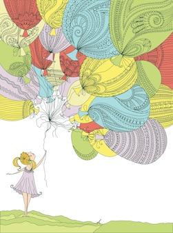 Meisje met kleurrijke ballonnen