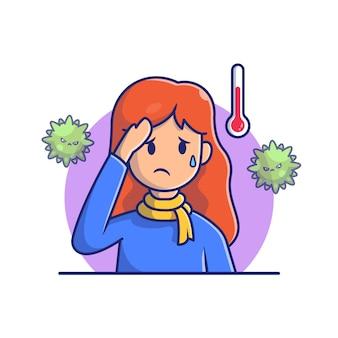Meisje met koorts en griep pictogram illustratie. corona mascotte stripfiguren. persoon icon concept white geïsoleerd