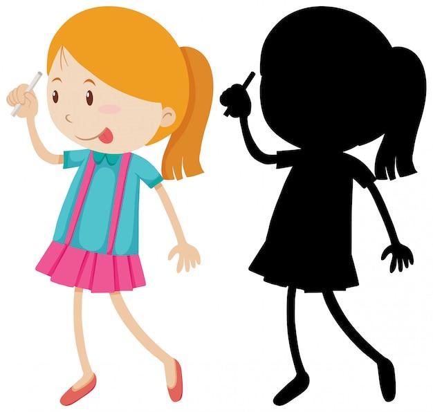 Meisje met krijt met zijn omtrek en silhouet