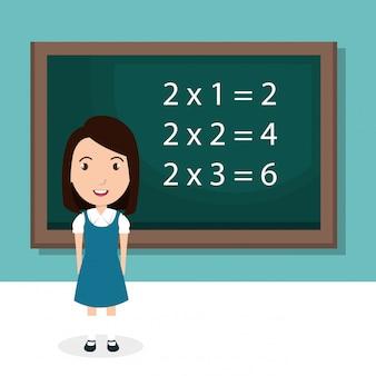 Meisje met krijtbord klas karakter