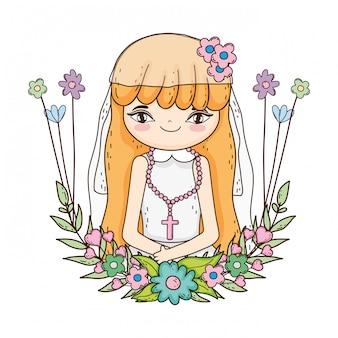 Meisje met kroon bloemen communie viering