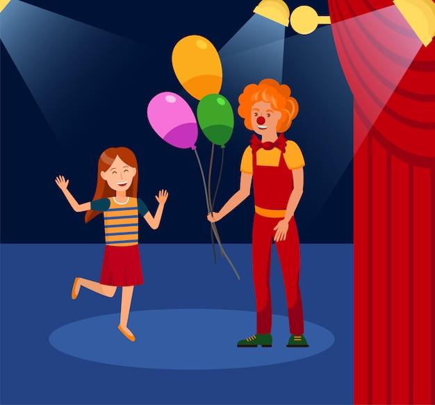 Meisje met lachende clown kleur illustratie