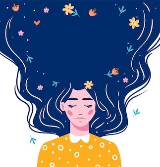 Meisje met lang haar met ruimte voor uw tekst. hand getekende lang haar mooi meisje met bloemen. moderne illustratie. sjabloon voor kaarten, groeten, flyer, banner.