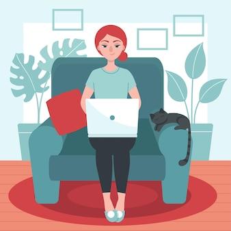 Meisje met laptop zit op de fauteuil. concept van freelance, werk thuis. blijf thuis.