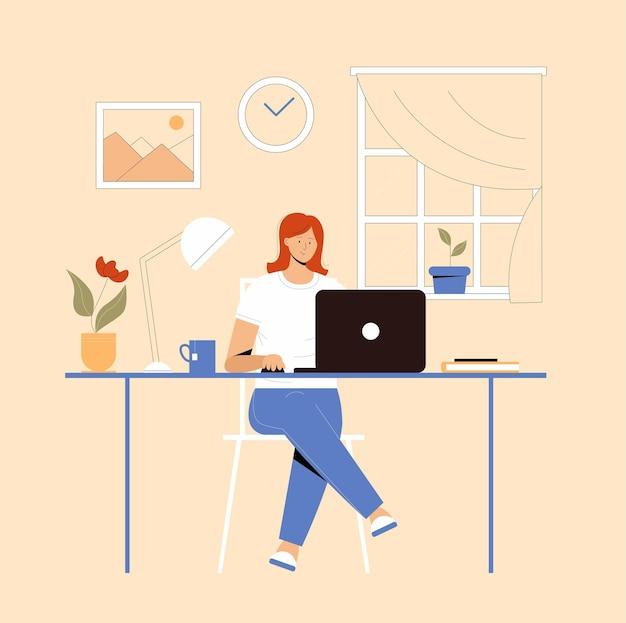 Meisje met laptop zittend op de stoel. freelance of studeren concept. leuke illustratie in vlakke stijl.