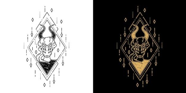 Meisje met masker geometrisch tattoo monoline design