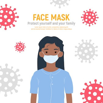 Meisje met medisch masker op gezicht om haar te beschermen tegen coronavirus covid-19, 2019-ncov geïsoleerd op een witte achtergrond. kinderen virusbescherming concept. blijf veilig. illustratie