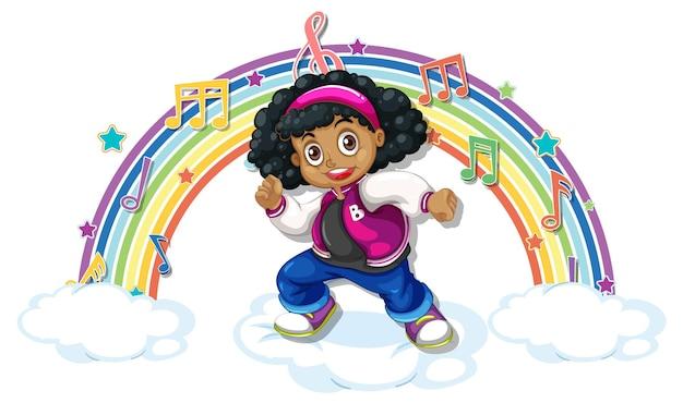 Meisje met melodiesymbolen op regenboog
