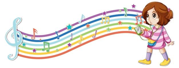 Meisje met melodiesymbolen op regenbooggolf