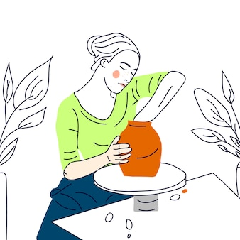 Meisje met pottenbakkerswiel