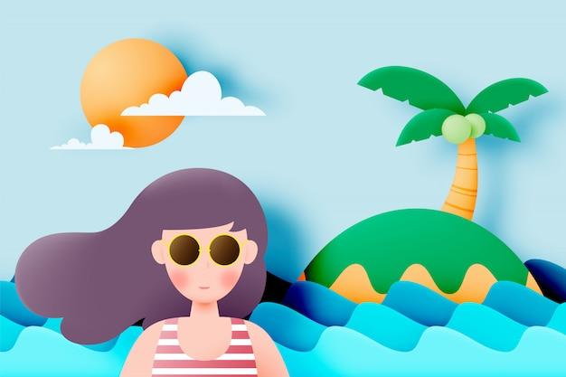 Meisje met prachtige zomer natuur achtergrond in papier kunststijl en pastel kleurenschema