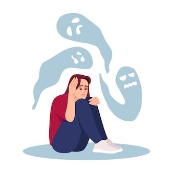 Meisje met psychische stoornis semi vlakke afbeelding