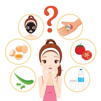 Meisje met puistjes op haar gezicht en huid gezichtspictogrammen instellen