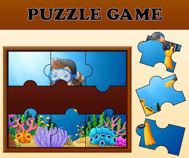 Meisje met puzzel-concept duiken