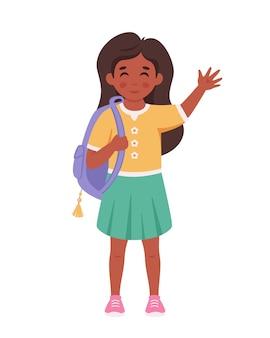 Meisje met rugzak die naar school gaat meisje lacht en zwaait met de hand basisschoolstudent
