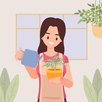 Meisje met schort geeft kamerplanten water, zorgt voor kamerplanten, hobby en levensstijl, illustratie in vlakke stijl