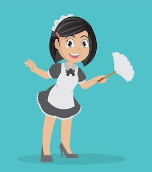 Meisje met stofdoek schoonmaken.