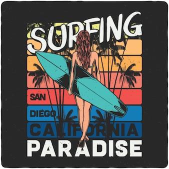 Meisje met surfplank