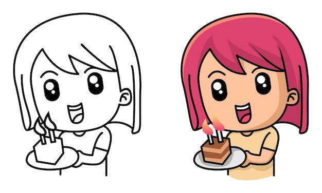 Meisje met taart op verjaardagsfeestje kleurplaat voor kinderen