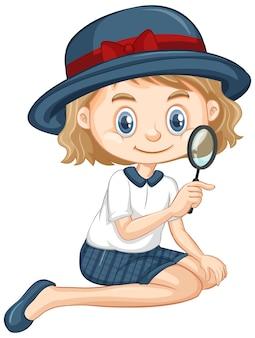 Meisje met vergrootglas op geïsoleerde background