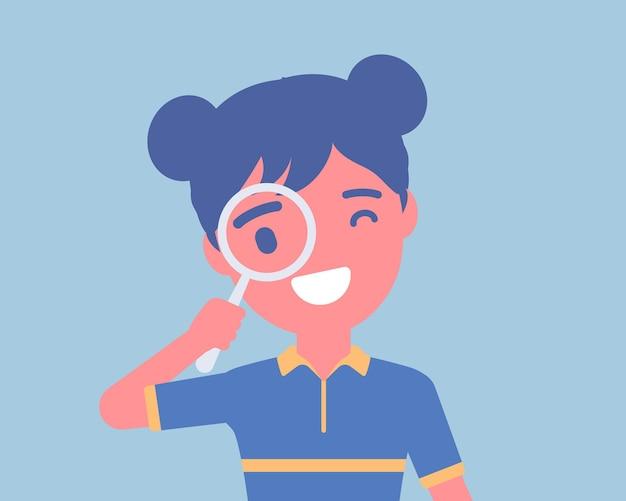 Meisje met vergrootglas. schoolmeisje dat door de handlens kijkt, focus zoekt, gegevens, informatie, wetenschappelijk onderzoek, veilig internetten voor kinderen en studeren. cartoon vectorillustratie in vlakke stijl
